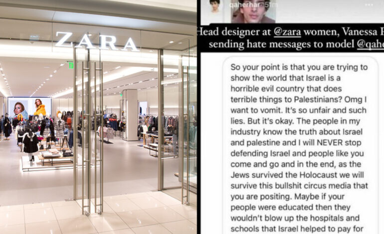 Head designer for Zara under fire for anti-Palestinian message to model
