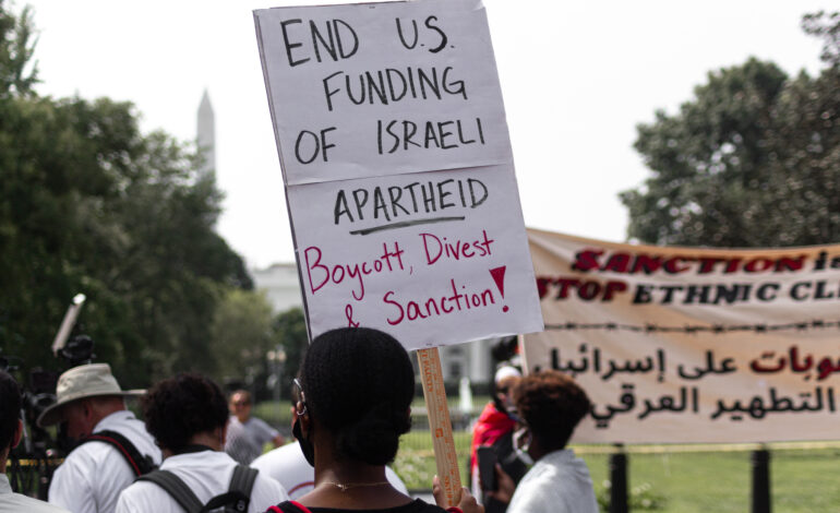 Protesters in D.C. chant names of murdered Gazans ahead of Bennett, Biden talks